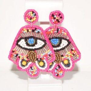 Beaded hamsa eye colorful earrings